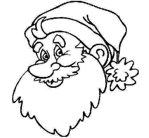 Dibujo de Cara Papa Noel para Colorear