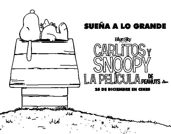 Dibujo de Carlitos y Snoopy la pelicula de peanuts para Colorear