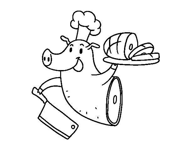 Dibujo de Carne de cerdo para Colorear