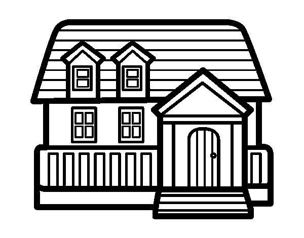 Dibujo de casa americana para colorear - Para pintar casas ...