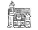 Dibujo de Casa de dos pisos con torre para colorear