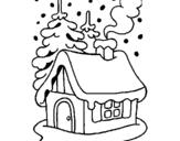 Dibujo de Casa en la nieve