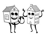Dibujo de Casas vecinas para colorear