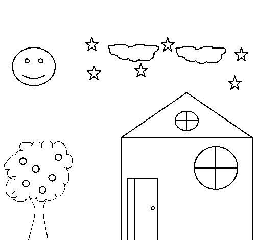 Dibujo de Casita y rbol para Colorear  Dibujosnet