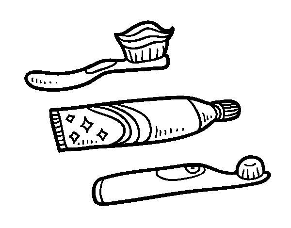 Dibujo de Cepillos de dientes para Colorear