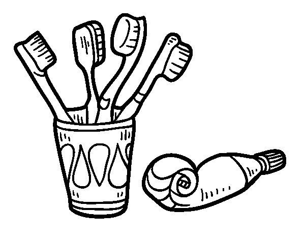 Dibujo de Cepillos y pasta de dientes para Colorear