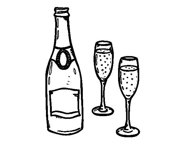 Dibujo de Champán y copas para Colorear