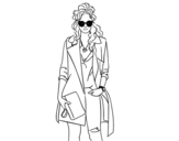 Dibujo de Chica con gabardina para colorear