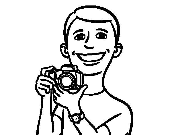Dibujo de Chico con cámara para Colorear
