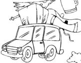 Dibujo de Coche con equipaje para colorear