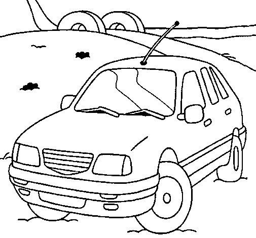 Dibujo de Coche en la carretera para Colorear