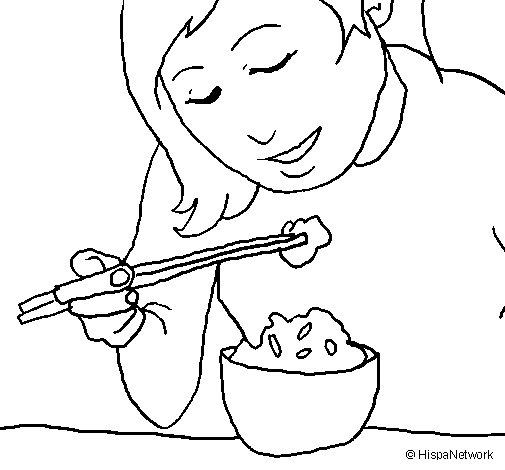 Dibujo de Comiendo arroz para Colorear