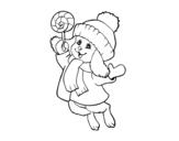 Dibujo de Conejito abrigado para colorear