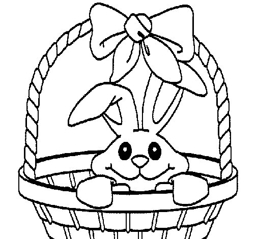 Dibujo de Conejito en cesta para Colorear  Dibujosnet
