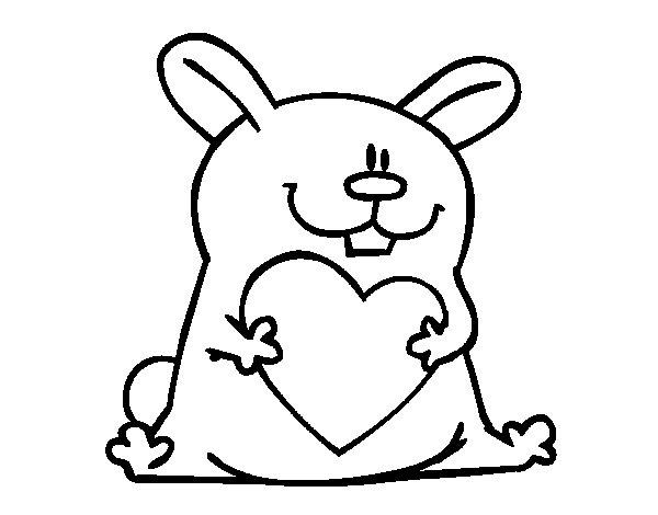 Dibujo de Conejo con corazón para Colorear