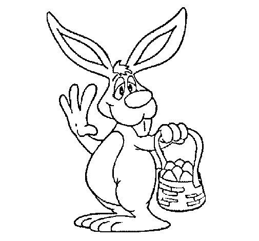 Dibujo de Conejo con una cesta para Colorear