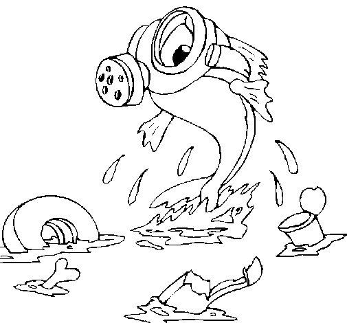 Dibujo de Contaminación marina para Colorear