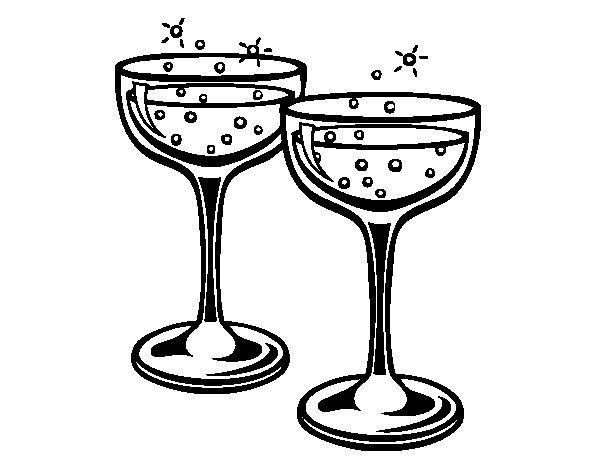 Dibujo de Copas de champán para Colorear