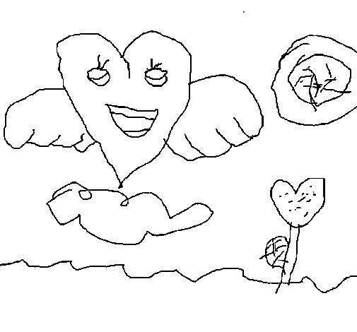 Dibujo de Corazón con alas para Colorear