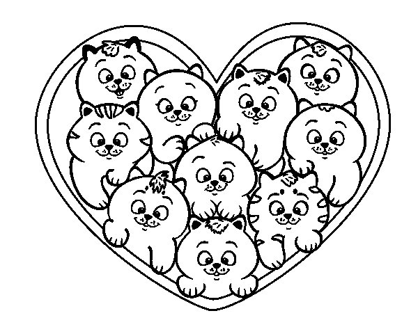 Dibujo de Corazón de gatitos para Colorear