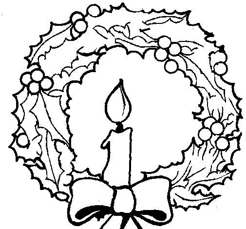 Dibujo de Corona de navidad y una vela para Colorear  Dibujosnet