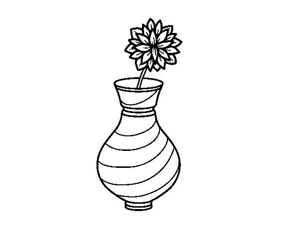 Dibujo de Crisantemo en un jarrón para Colorear