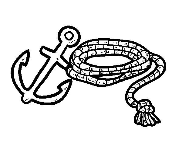 Dibujo de Cuerda y áncora para Colorear