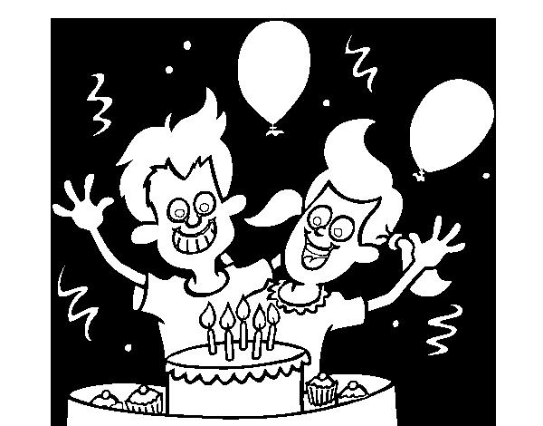 Dibuja Y Colorea Torta De Cumpleaños: Dibujo De Cumpleaños De Hermanos Para Colorear