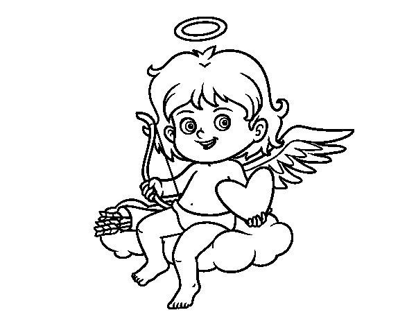 Dibujo de Cupido en una nube para Colorear