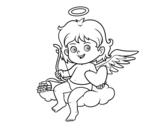 Dibujo de Cupido en una nube