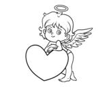 Dibujo de Cupido y un corazón para colorear