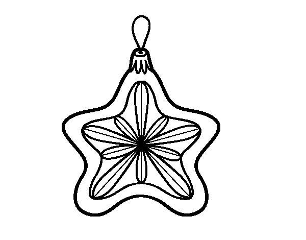 Dibujo de Decoración de Navidad estrella para Colorear