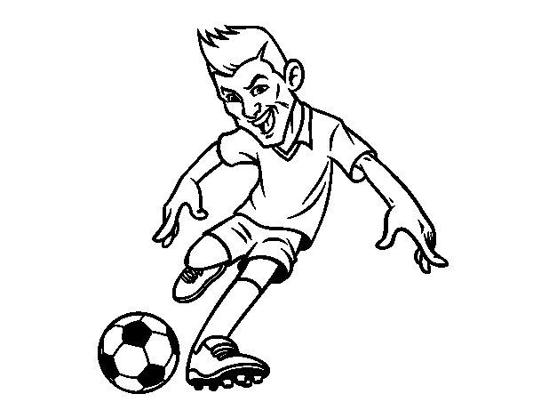Dibujo De Jugando A Fútbol Para Colorear: Dibujo De Delantero De Futbol Para Colorear