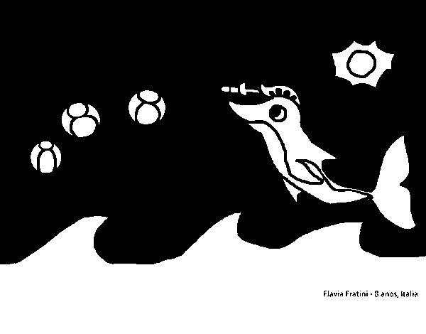 Dibujo de Delfín jugando para Colorear