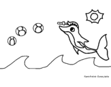 Dibujo de Delfín jugando