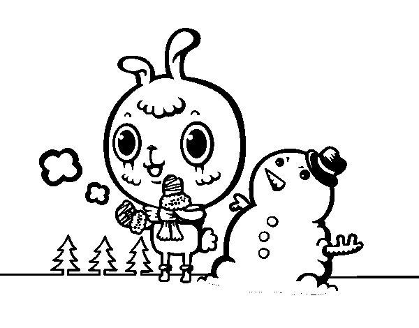 Dibujo de Día nevado para Colorear