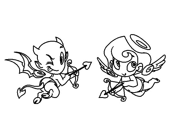 Dibujo De Diablo Y Cupido Para Colorear