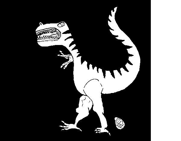 Dibujo de Dinosaurio con huevo para Colorear