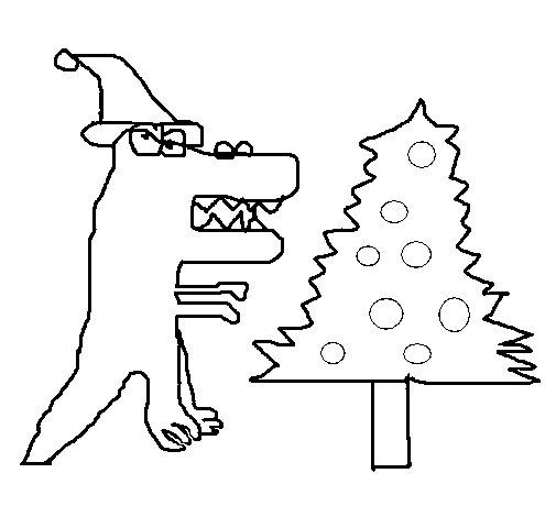 Dibujo de Dinosaurio en Navidad para Colorear