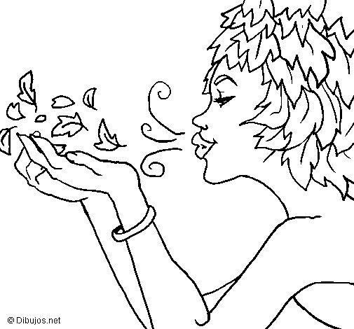 Dibujo de Diosa del viento para Colorear