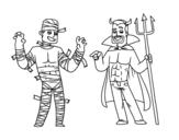 Dibujo de Disfraces de Halloween para colorear