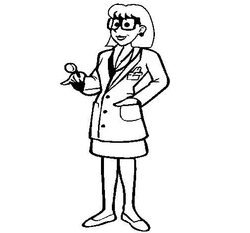 Dibujo de Doctora con gafas para Colorear