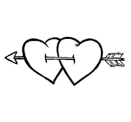 Dibujo de Dos corazones con una flecha para Colorear