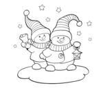 Dibujo de Dos muñecos de Navidad para colorear