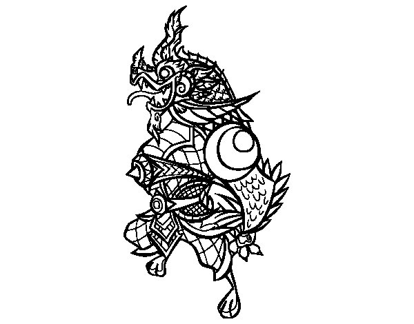 Dibujo de Dragón guardián para Colorear