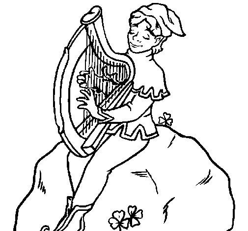 Dibujo de Duende tocando el arpa para Colorear  Dibujosnet