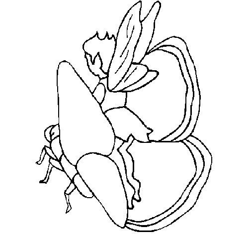 Dibujo de Duende y mariposa para Colorear