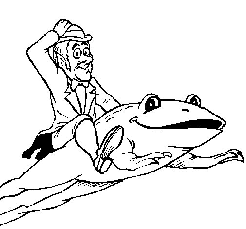 Dibujo de Duende y rana para Colorear