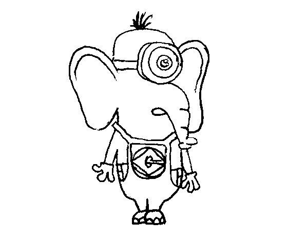 Dibujo Elefante Para Colorear E Imprimir: Dibujo De Elefante Minion Para Colorear