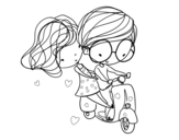 Dibujo de Enamorados en moto para colorear